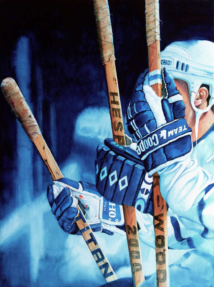 Toronto Maple Leafs hockey sticks painting