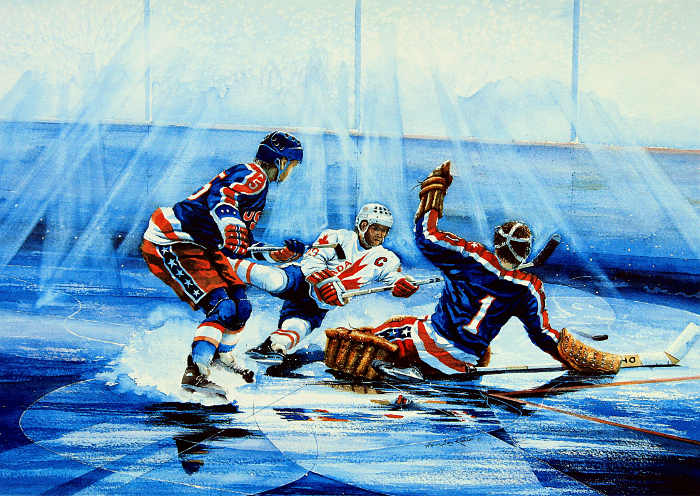 hockey action painting