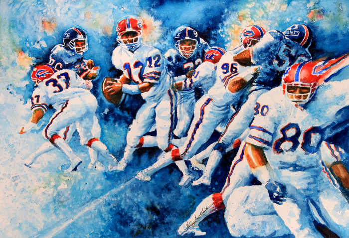 Buffalo Bills football action celebrity Jim Kelly portrait painting