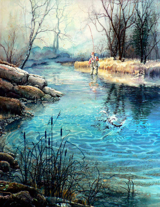 Fly Fisherman Painting