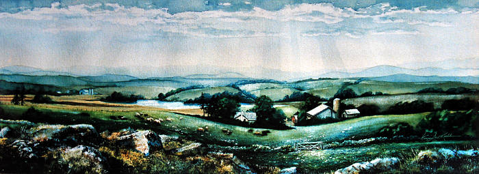 rural landscape painting of farm valley neighbors