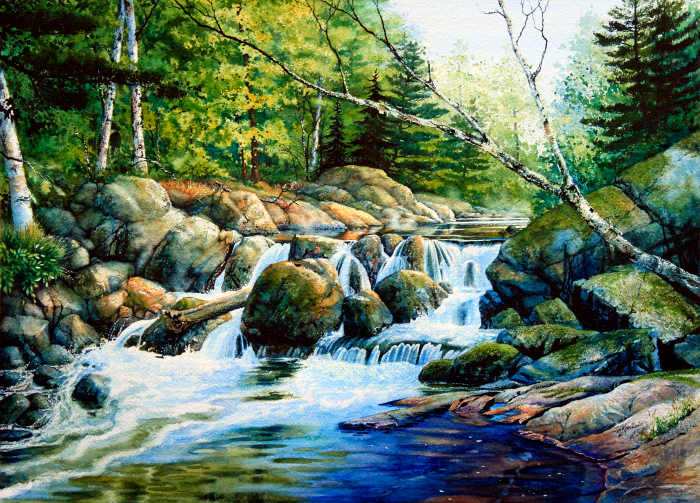Canadian summer landscape painting of a forest creek waterfall