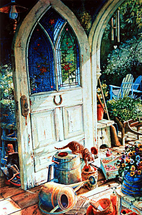 Painting Of A Greenhouse Potting Shed Door