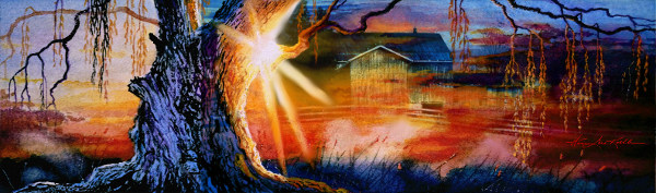 Weeping Willow Farm Sunrise Painting