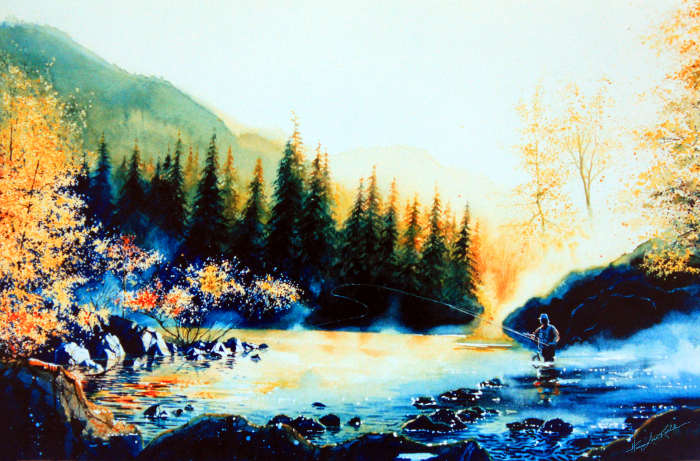 Misty spring landscape painting of fisherman fishing in mountain stream
