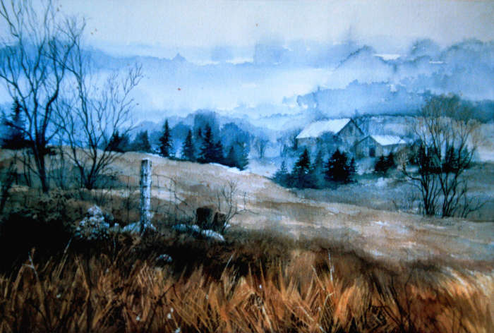 rural spring landscape painting of a misty farm valley