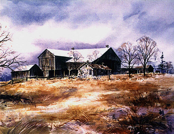 spring farm landscape watercolor painting