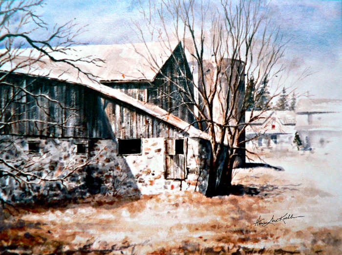 Early Spring Farm Barn Rural Landscape Watercolor
