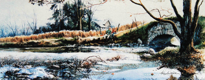 Spring Farm Stream Fishing Landscape Watercolor