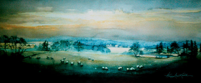 Peaceful Farm Valley Landscape Painting