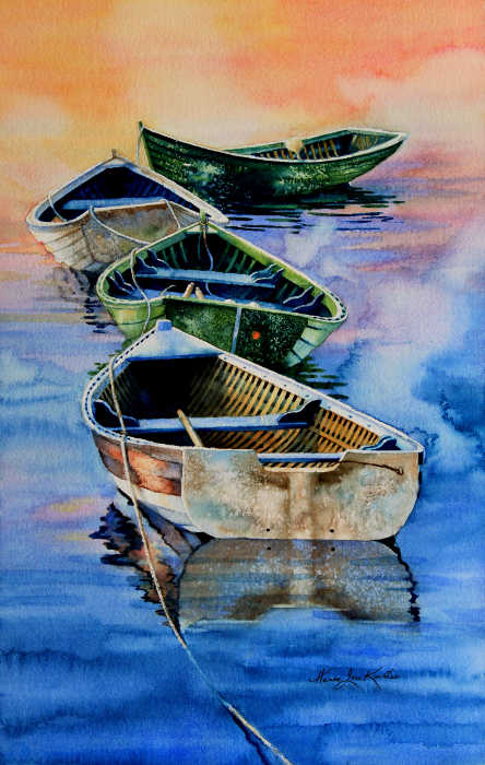 Painting Of Row Boats