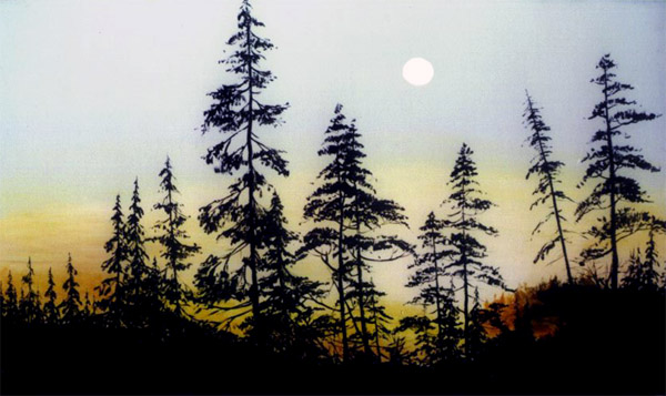 Algonquin Sunset Silhouette Painting