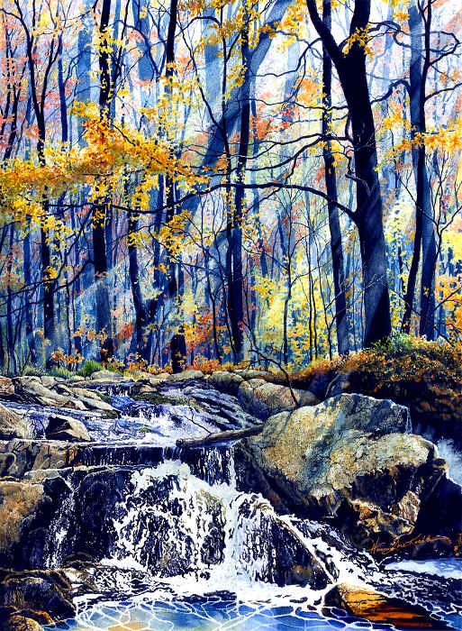 Canadian autumn forest creek waterfall painting