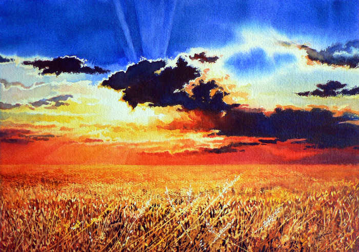 Prairie Wheat Sunset Landscape Painting