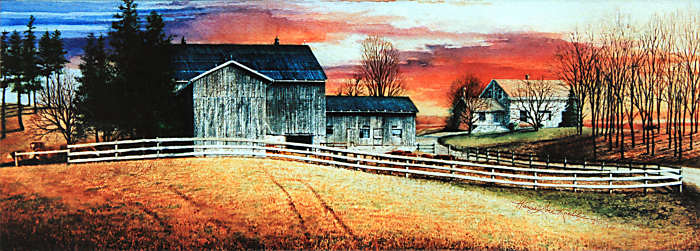 Fall Farm Sunset Rural Landscape Painting