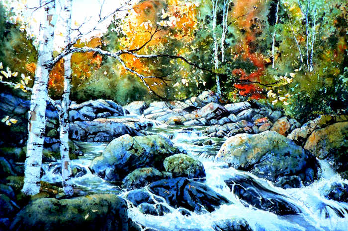 painting of a forest stream in autumn
