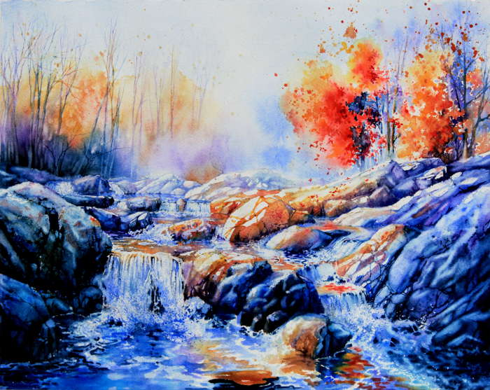 colorful autumn forest stream waterfall painting
