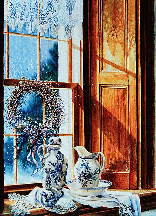 Farmhouse Window Lace Still Life Painting