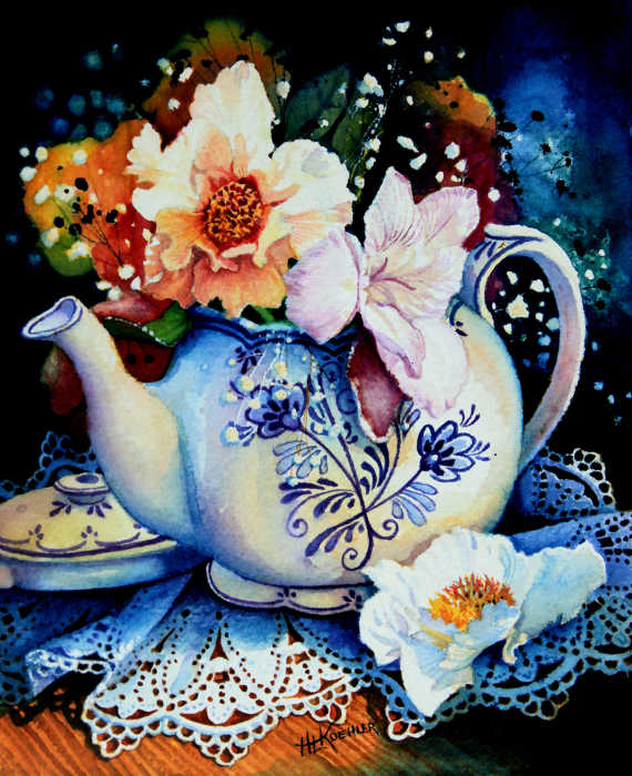 painting of flowers in a tea pot