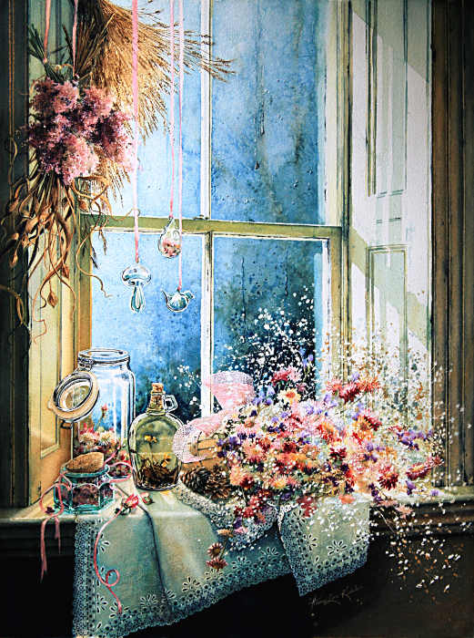 Feminine still life painting of objects in a window