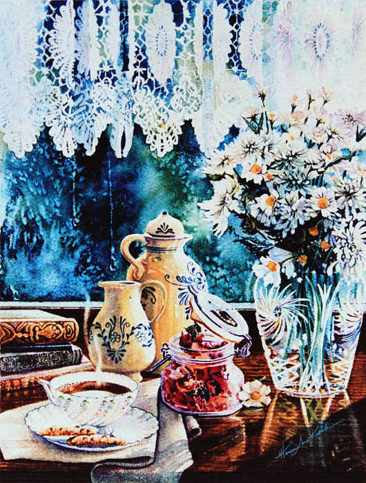 Flowers, Crystal Vase, Lace Curtain window still life painting