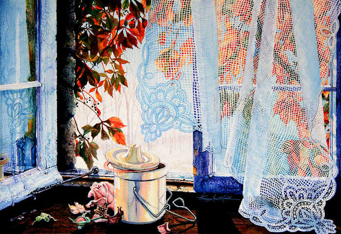 Open Window Paintings With Lace Curtain