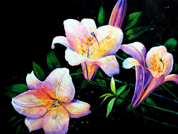 Painting Of Purple Lilies