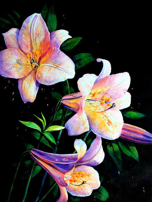 purple lily painting