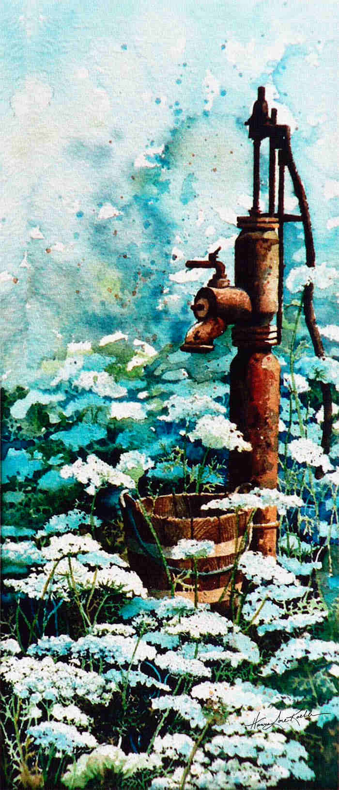 Garden Water Pump and Wildflower Painting