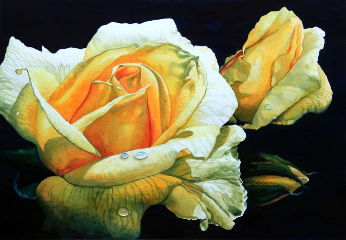 flower painting of a yellow rose and rosebud