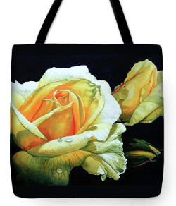 tote bag with flower painting of a yellow rose and rosebud