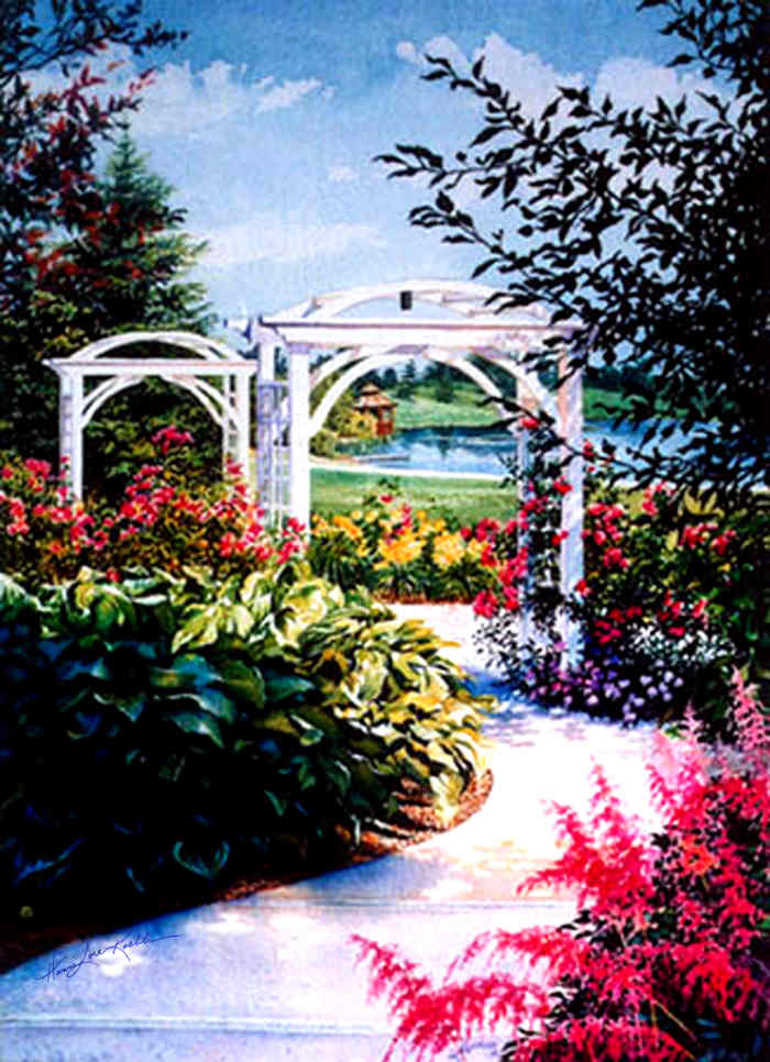 painting of a flower garden path with arbor