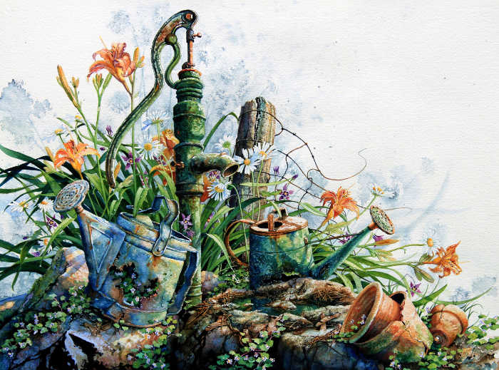 painting of a country garden with water pump