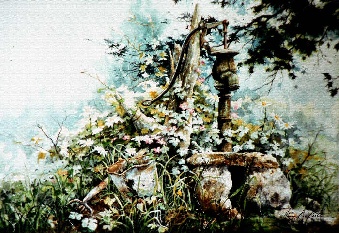 painting of a country garden water pump
