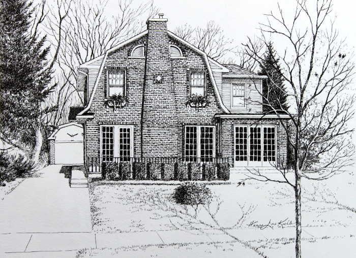 Illinois pen and ink house portrait