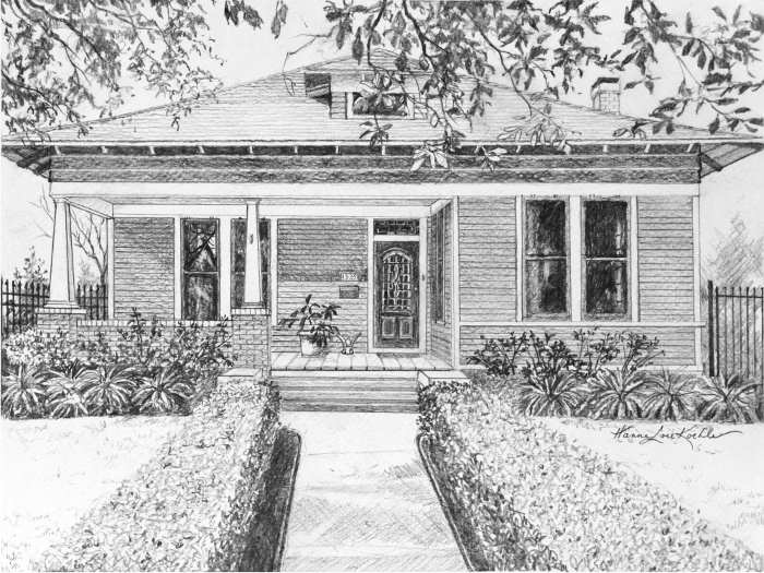 order ink drawing house portrait of your home
