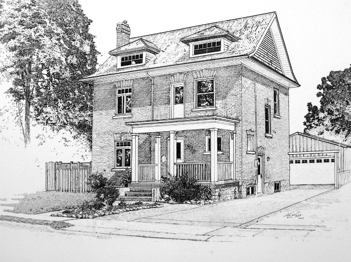 pen and ink house portraits