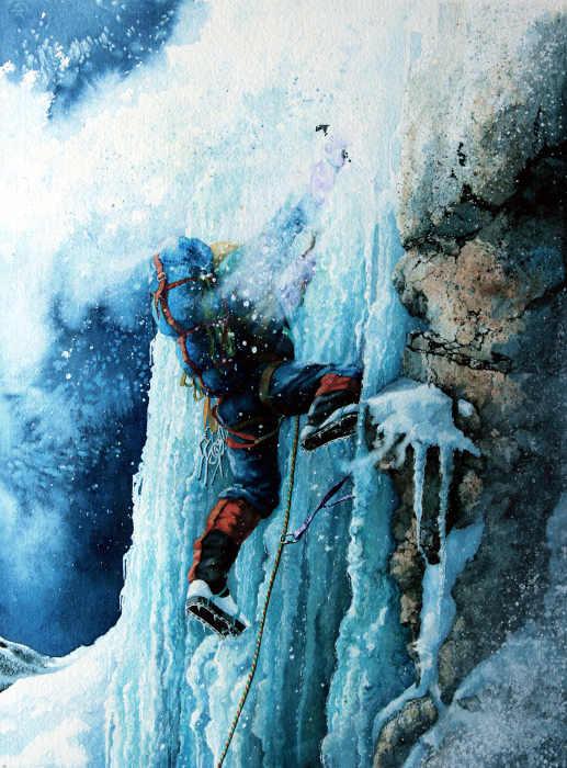 Mountain Climbing Painting Ice Climbing Art