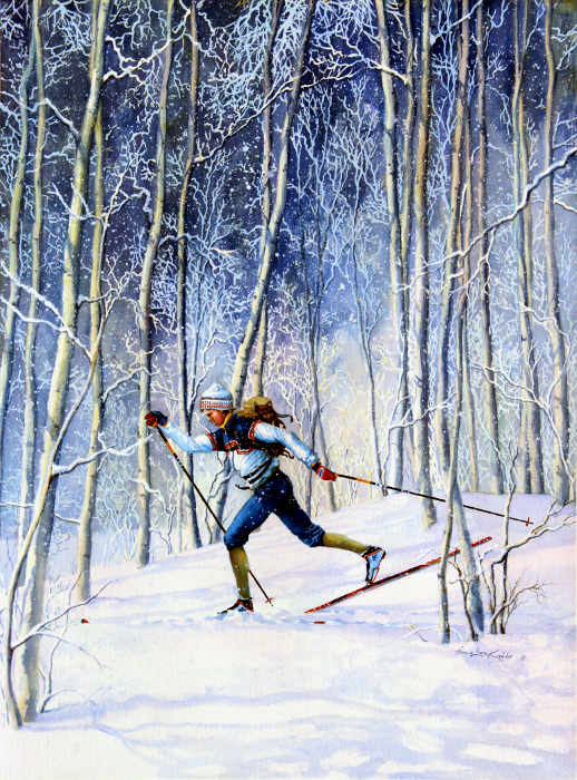 Cross-country Skiing Painting and nordic skiing sports art