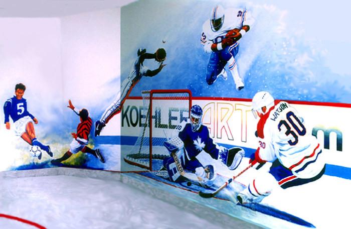 Sports wall mural baseball hockey football soccer for Baseball wall mural