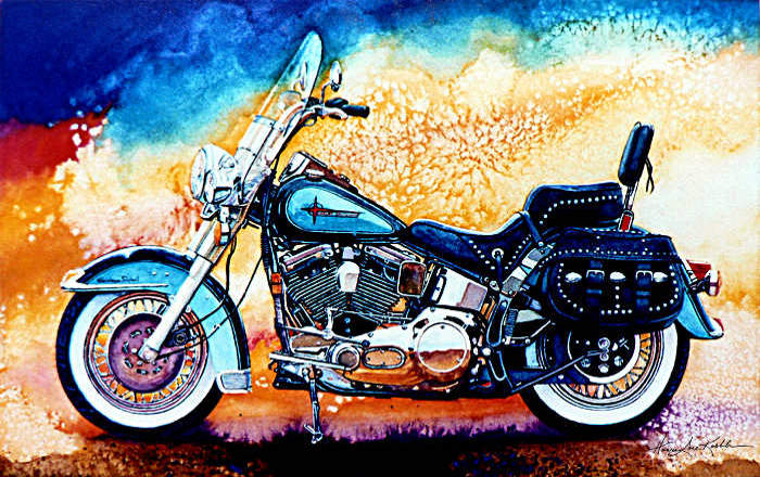 Harley Hog II Painting Of White Harley Davidson Motorcycle Part 49