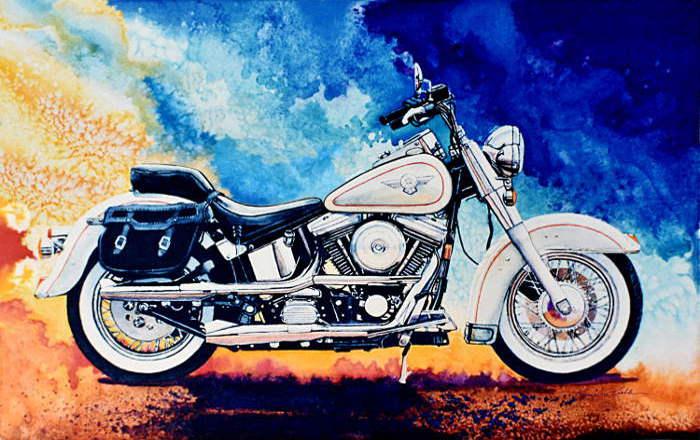 Harley Hog II Painting Of White Harley Davidson Motorcycle Part 75