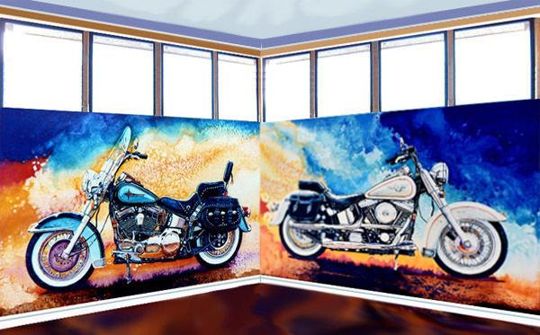 Custom Painted Harley Davidson Wall Mural Part 9
