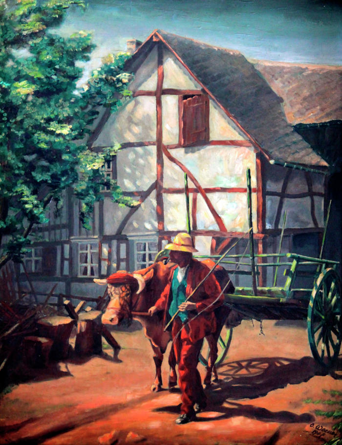 German Farmer with Ox And Cart oil painting