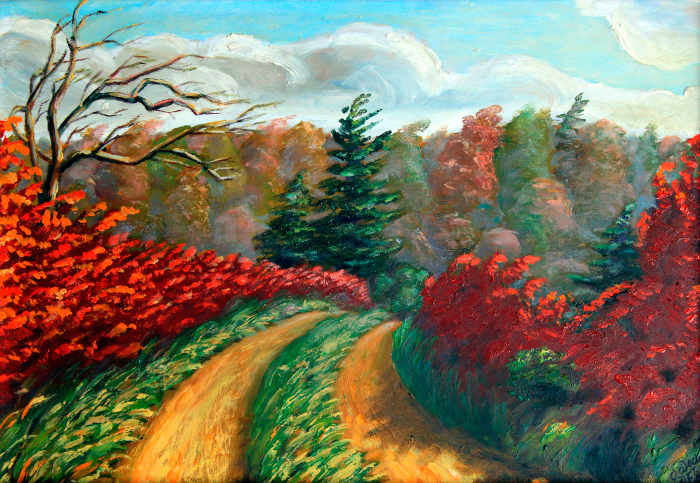 Ontario country trail autumn landscape oil painting