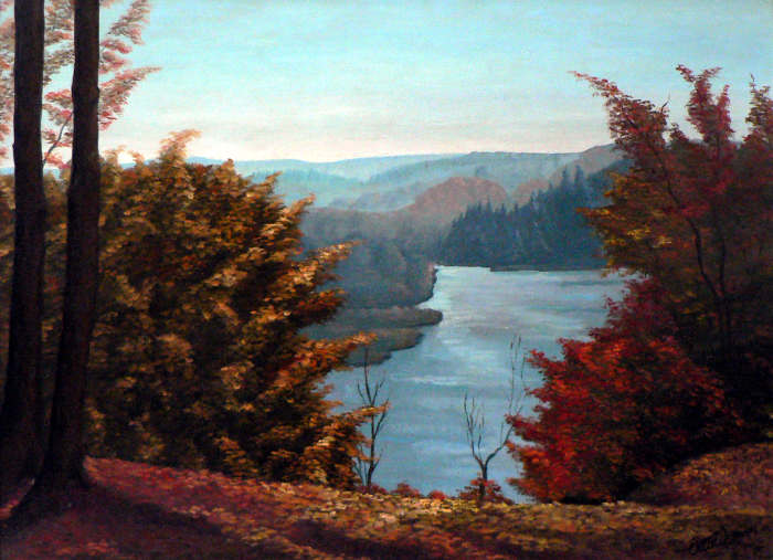 Grand River Valley Look-out Autumn landscape Kitchener Ontario painting
