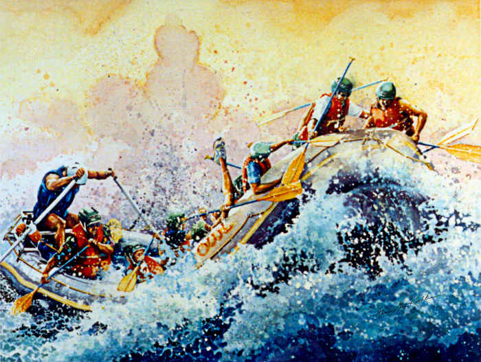white water rafting painting