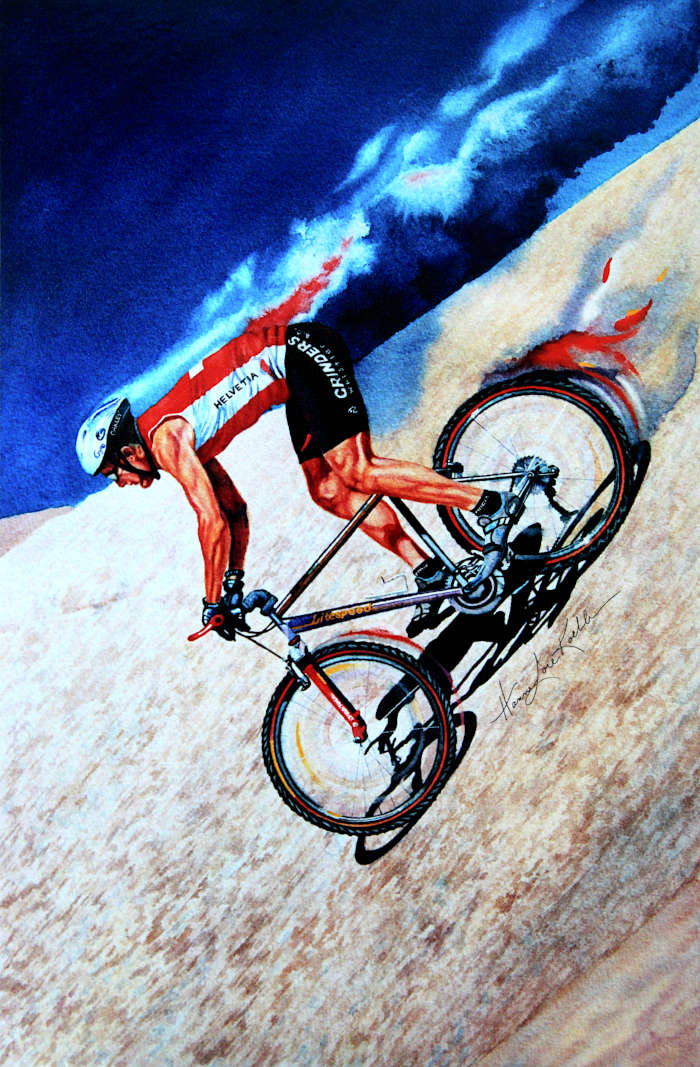 mountain biking action painting