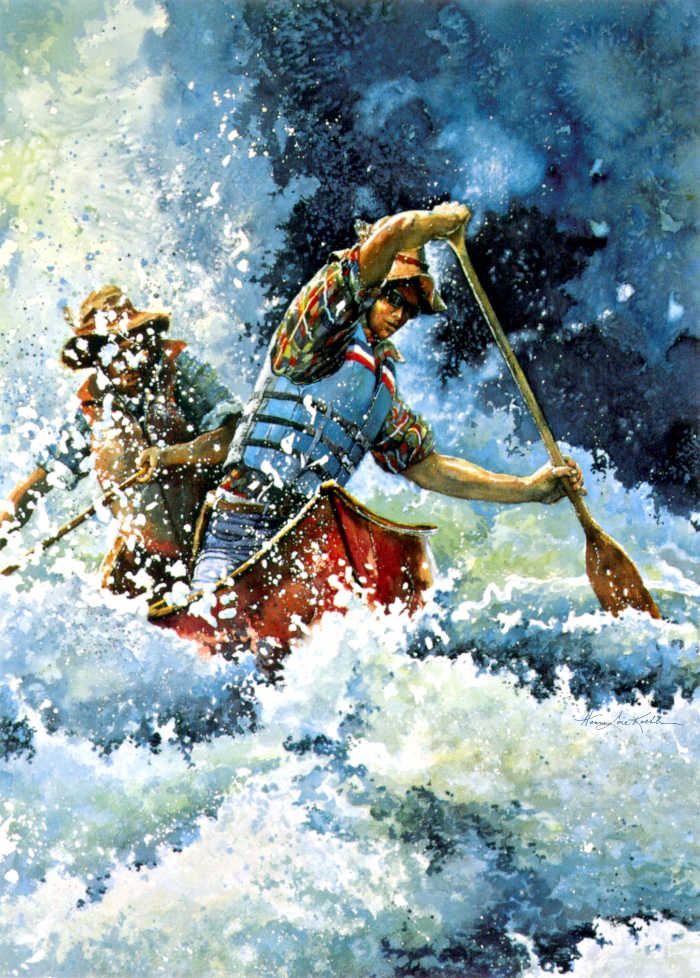 white water canoeing action painting