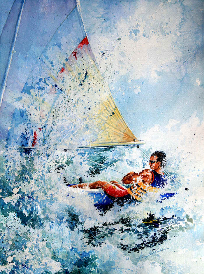 sailboat action painting